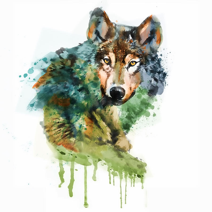 Wolf Face Watercolor Mixed Media By Marian Voicu
