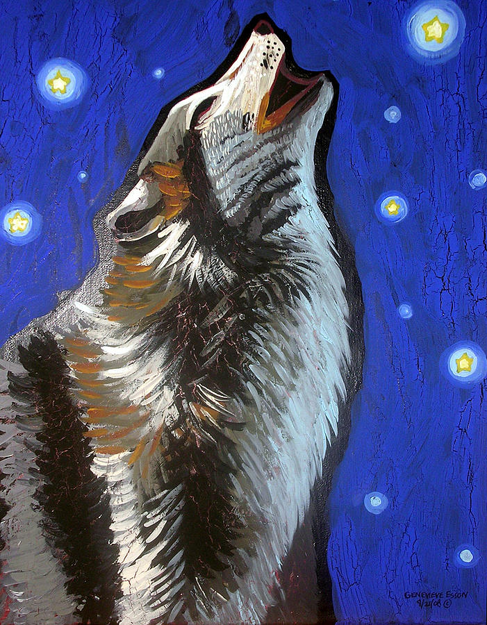 Wolf Painting - Wolf Howl by Genevieve Esson