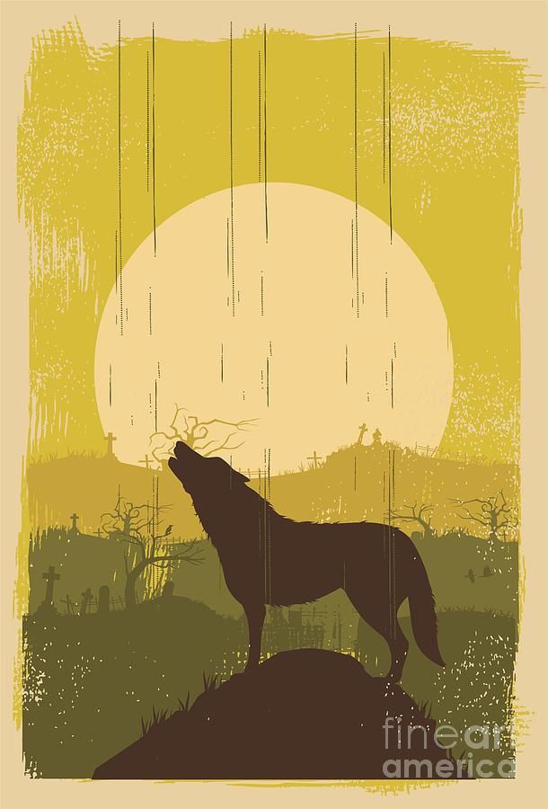 Symbol Digital Art - Wolf Howling Background Vector by Seita