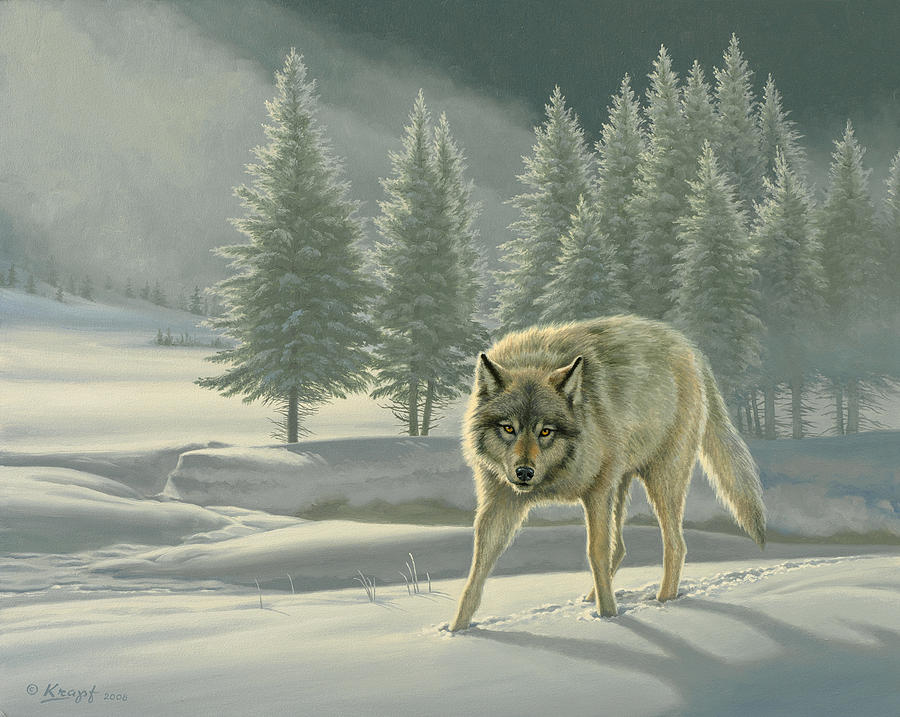 Wildlife Painting - Wolf In Fog    by Paul Krapf