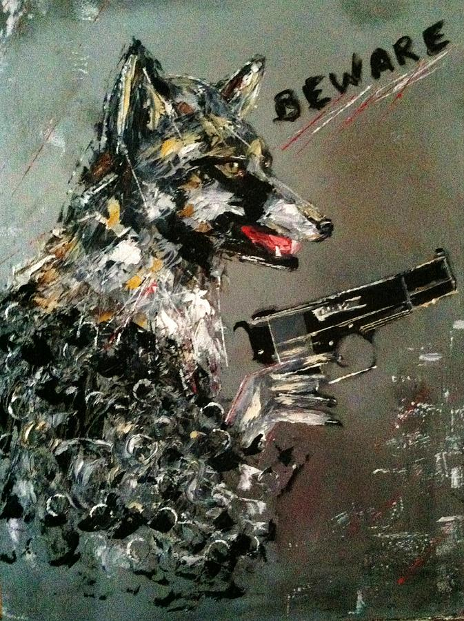 Wolf Painting - Wolf In Sheeps Clothing by Helen Wendle