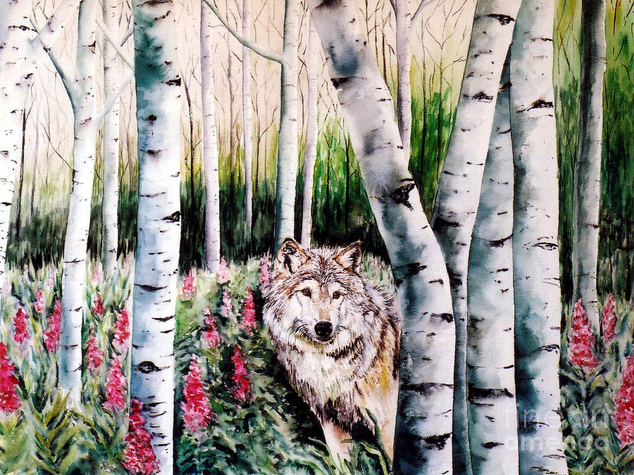 Wolf Painting - Wolf In Woods by Tracy Rose Moyers