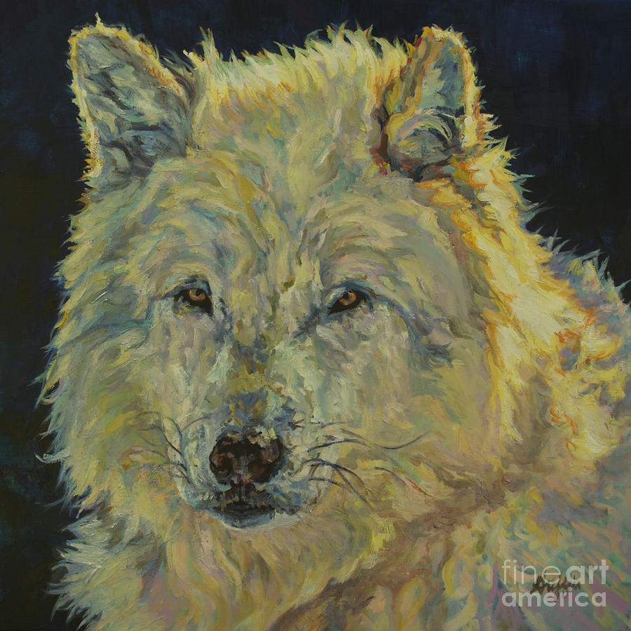 Wolf Painting - Wolf Moon by Patricia A Griffin