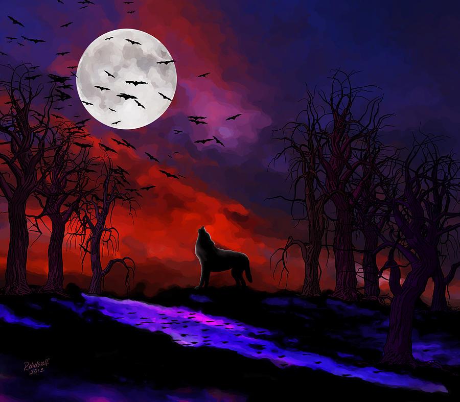 Анимации, картинки с полной луной и волком