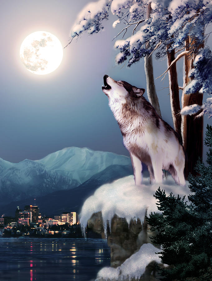 Wolf On The Doorstep Of Civilization Painting