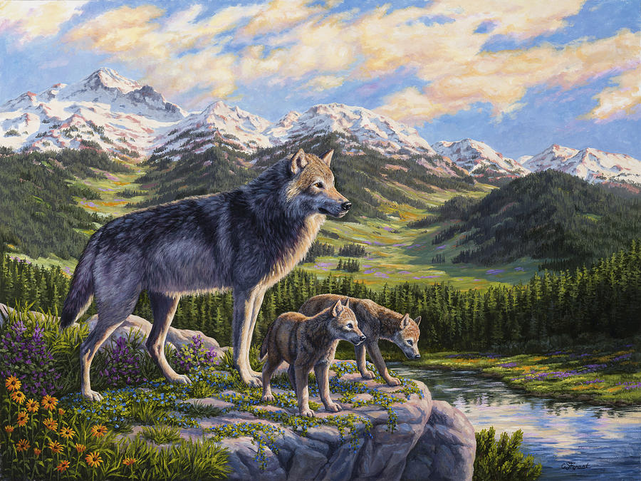 Wolf Painting - Wolf Painting - Passing It On by Crista Forest