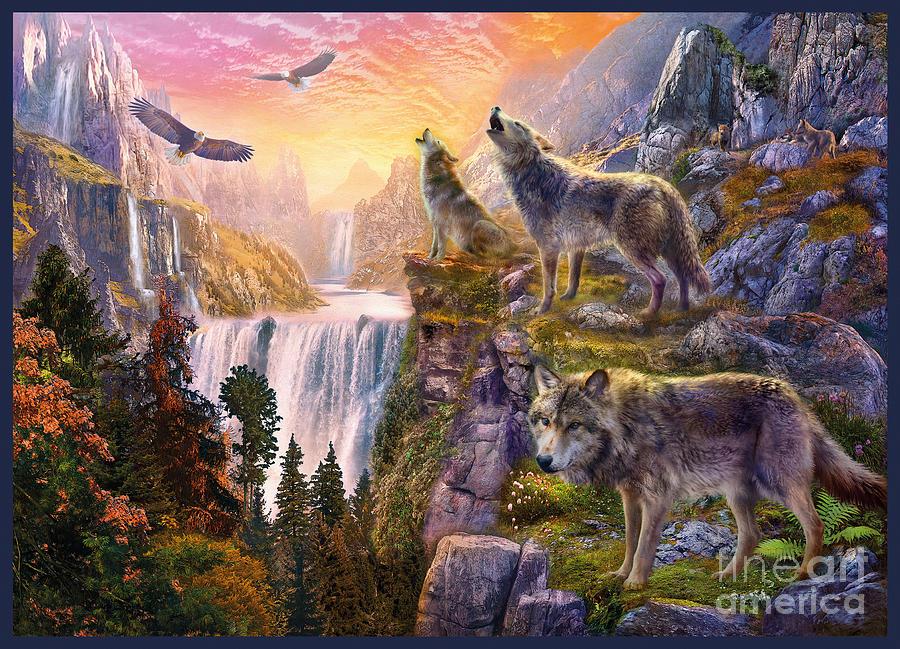 Wolf Digital Art - Wolf Sun by MGL Meiklejohn Graphics Licensing