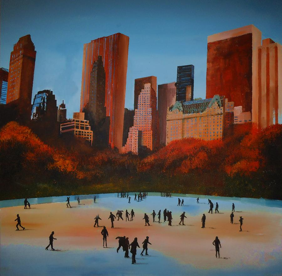 Wollman Trump Ice Rink Central Park Manhattan Painting by Paul McIntyre