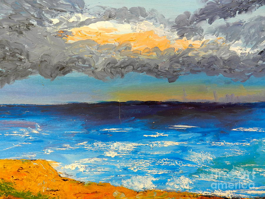Impressionism Painting - Wollongong Beach by Pamela  Meredith