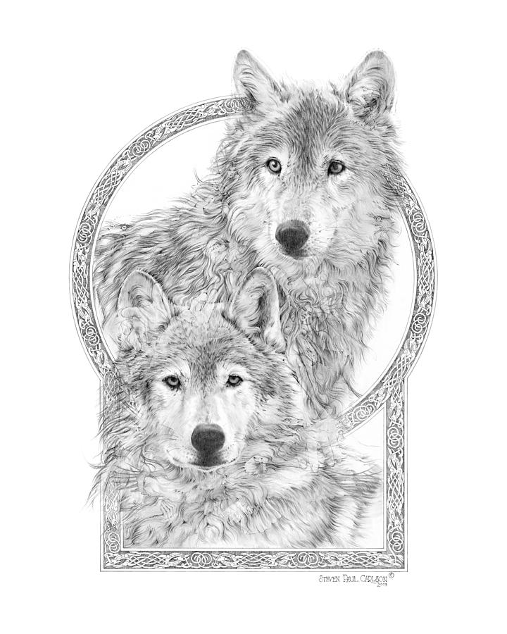 Wolves Drawing - Canis Lupus II - Wolves - Mates For Life  by Steven Paul Carlson
