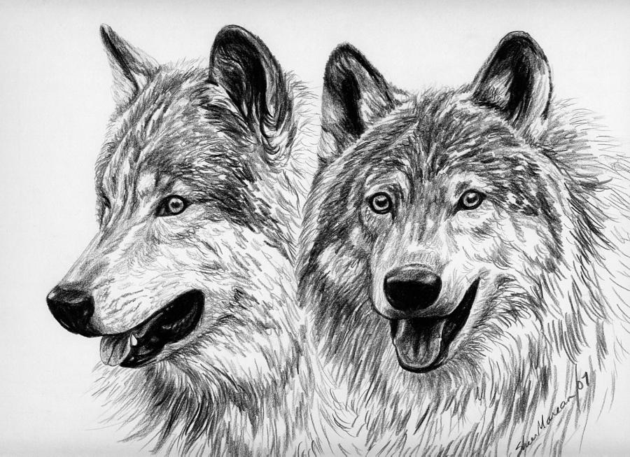 Wolves Painting by Sheri Marean