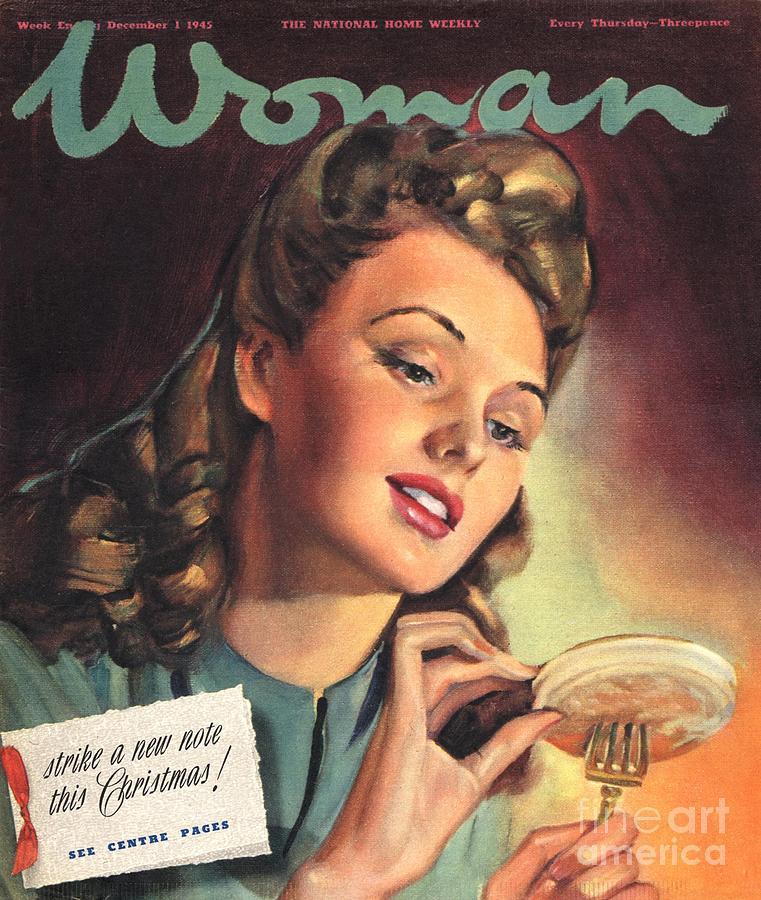 1940s Drawing - Woman 1945 1940s Uk People Eating by The Advertising Archives