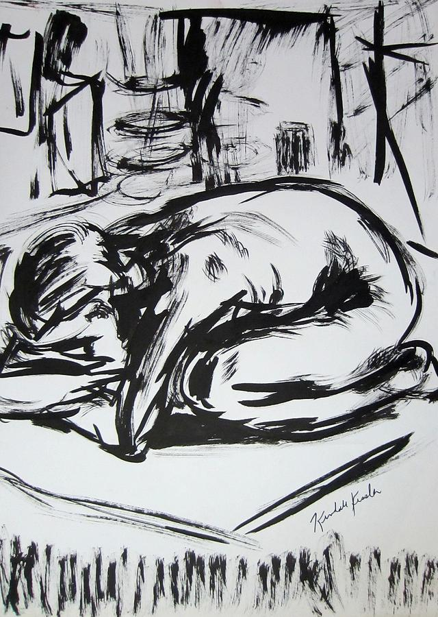Ink Drawing - Woman Alone With Shadows by Kendall Kessler