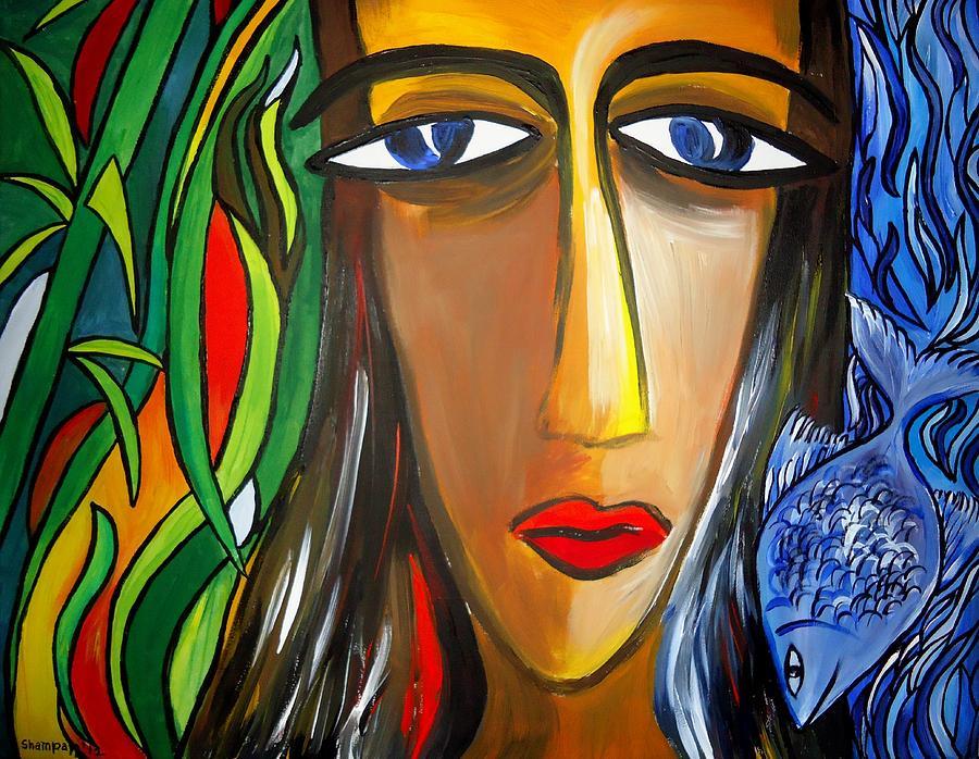 Kasana Painting - Woman And Nature by Shakhenabat Kasana