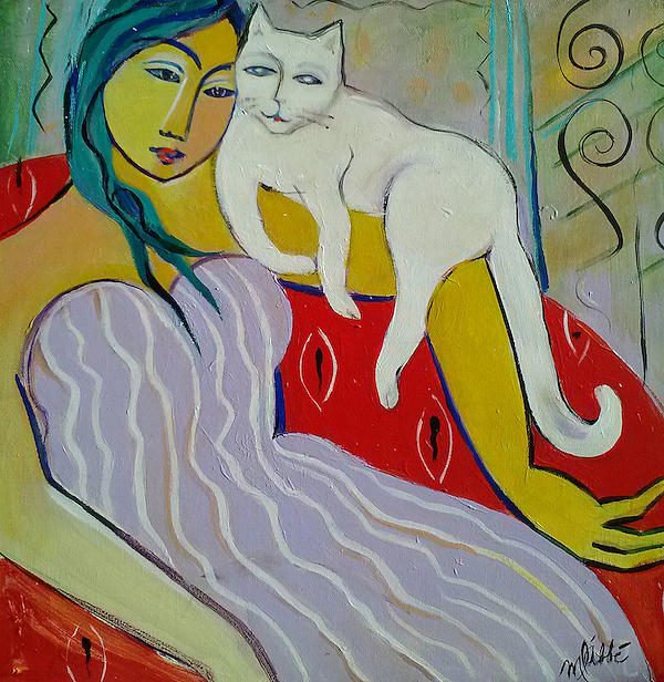 White Cat Painting - Woman And White Cat by Marlene LAbbe