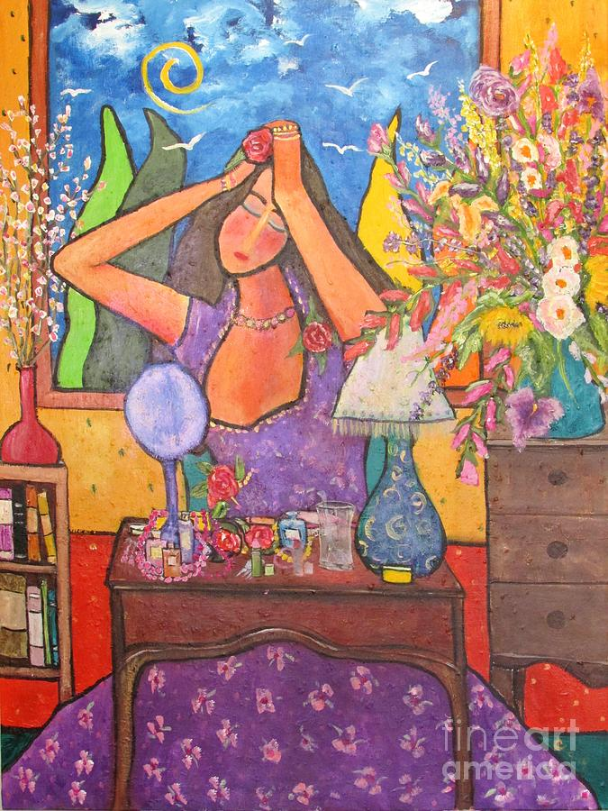 Figurative Expressionism Painting - Woman At Dressing Table by Chaline Ouellet