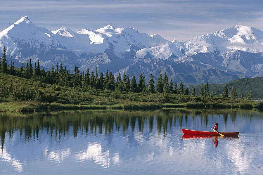 Alaska Photograph - Woman Canoeing In Wonder Lake Alaska by Michael DeYoung