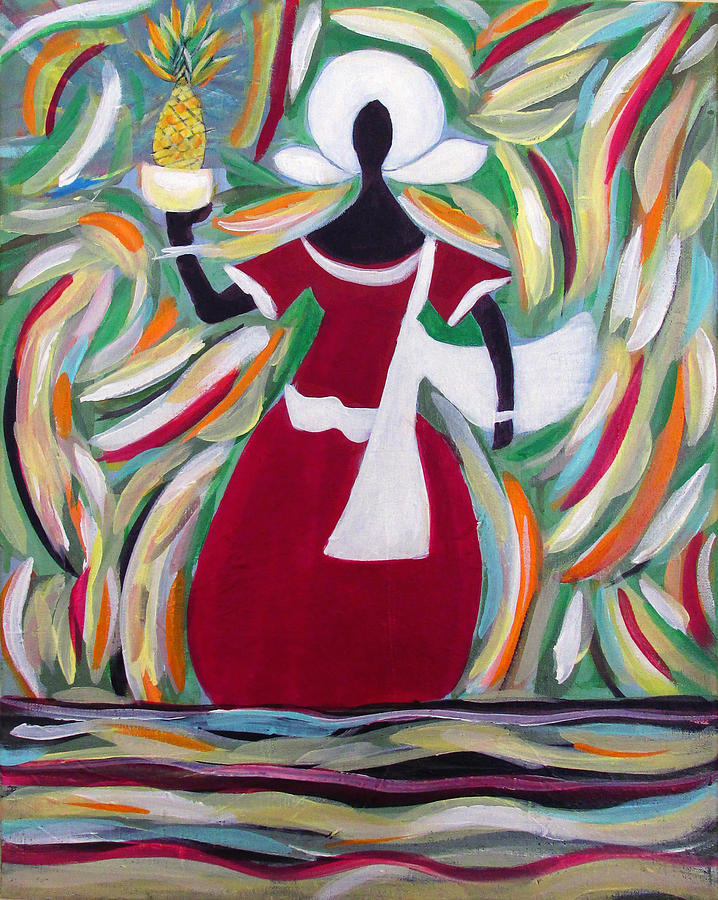 Acrylic Painting Painting - Woman Carrying Pineapple  by Fatima Neumann