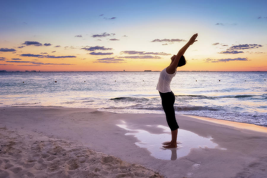 Woman Doing Yoga Poses On The Beach Photograph by Howard ...