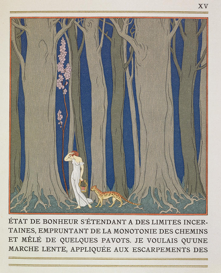 Forest Painting - Woman Followed By A Leopard by Georges Barbier