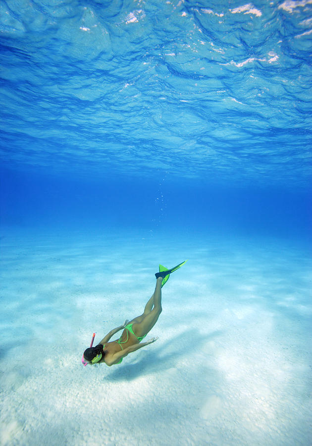 Amaze Photograph - Woman Free Diving by M Swiet Productions