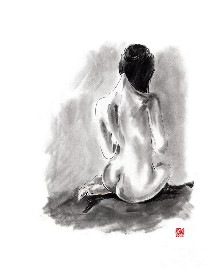 Woman Geisha Erotic Act Beautiful Girl Japanese Ink Painti