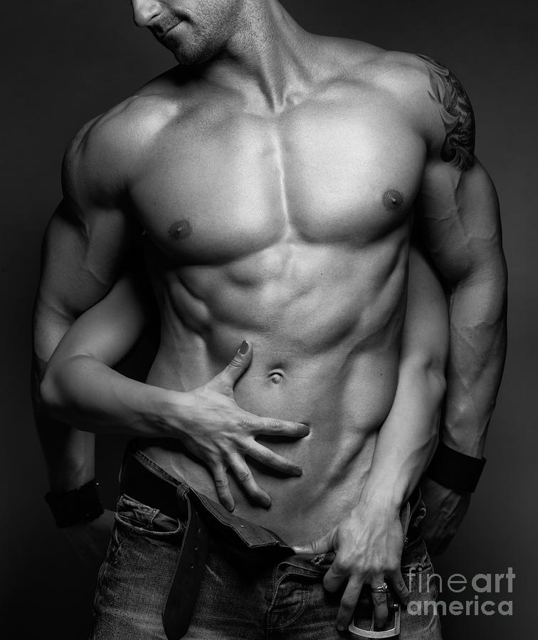 Muscular Photograph - Woman Hands Touching Muscular Mans Body by Oleksiy Maksymenko
