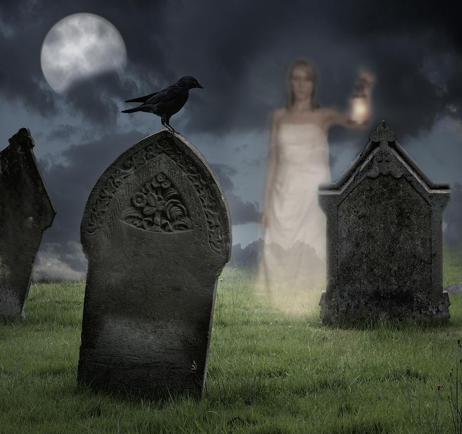 Halloween Photograph - Woman Haunting Cemetery by Amanda Elwell