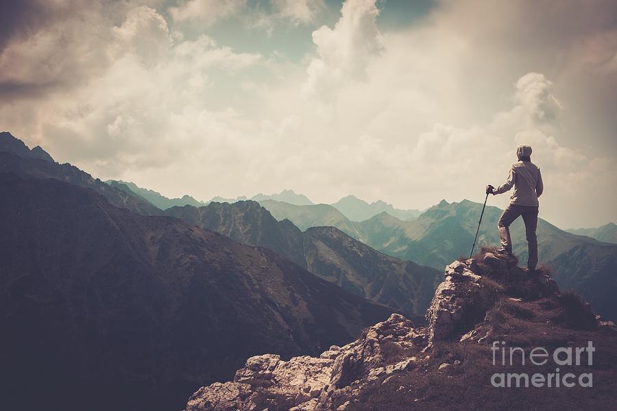 Woman Photograph - Woman Hiker On A Top Of A Mountain by Nejron Photo