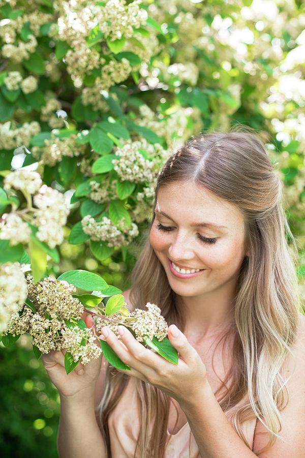 Young Women Photograph - Woman Holding White Flowers by Ian Hooton/science Photo Library