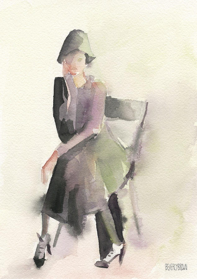 Vintage Fashion Painting - Woman In A Cloche Hat Watercolor Fashion Illustration Art Print by Beverly Brown