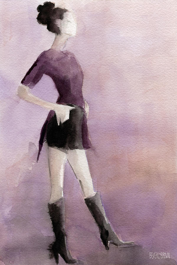 Black And Purple Painting - Woman In A Plum Colored Shirt Fashion Illustration Art Print by Beverly Brown Prints