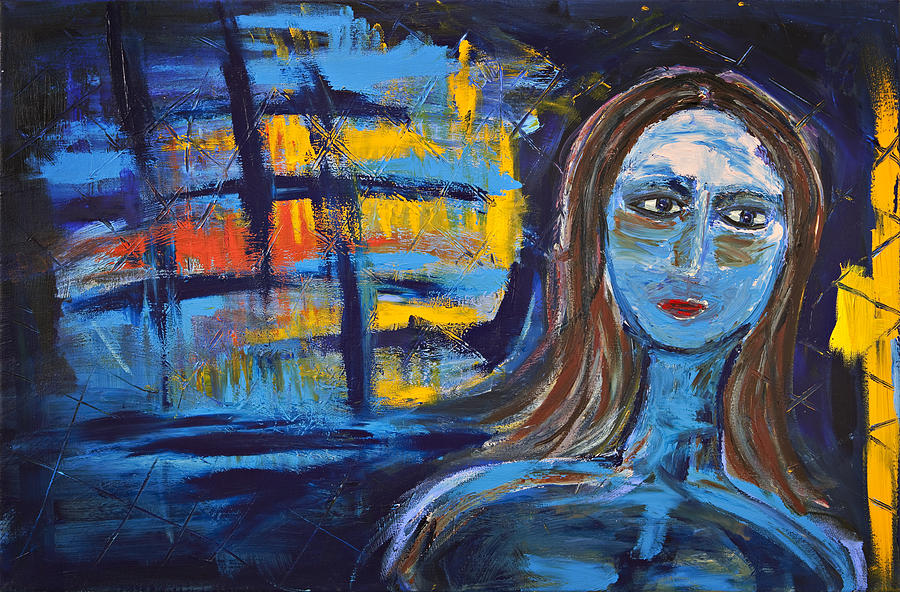 Figurative Painting - Woman In Blue Abstract by Maggis Art