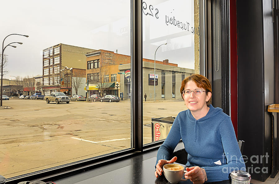 Woman In Cafe Photograph