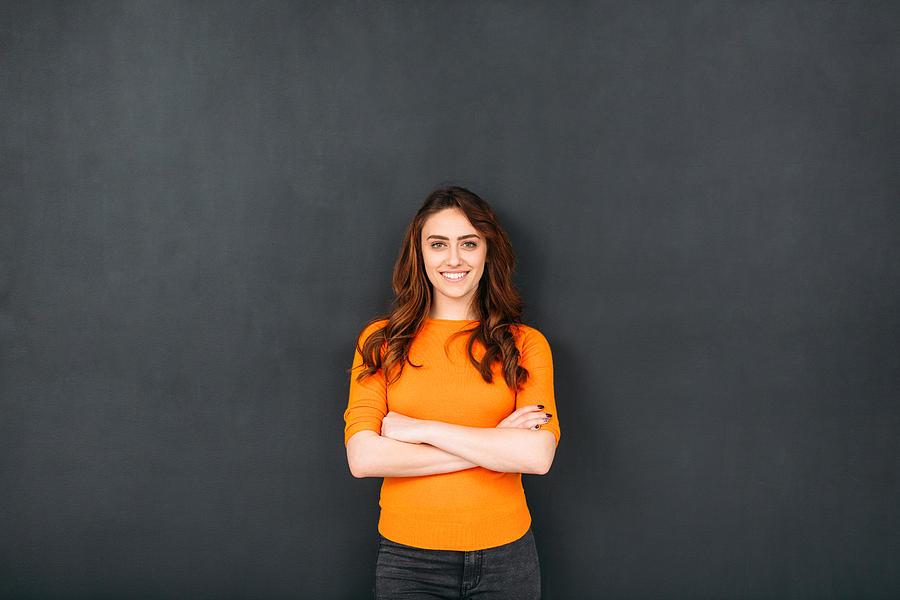 Woman In Front of Blackboard Photograph by Todor Tsvetkov