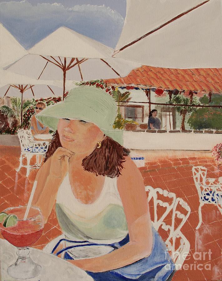 Cafes Painting - Woman In Mazatlan by Debra Chmelina
