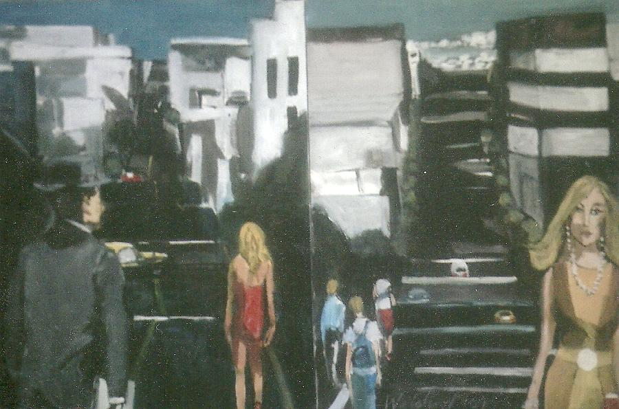Urbanscape Painting - Woman In Red Dress San Francisco  by Harry WEISBURD