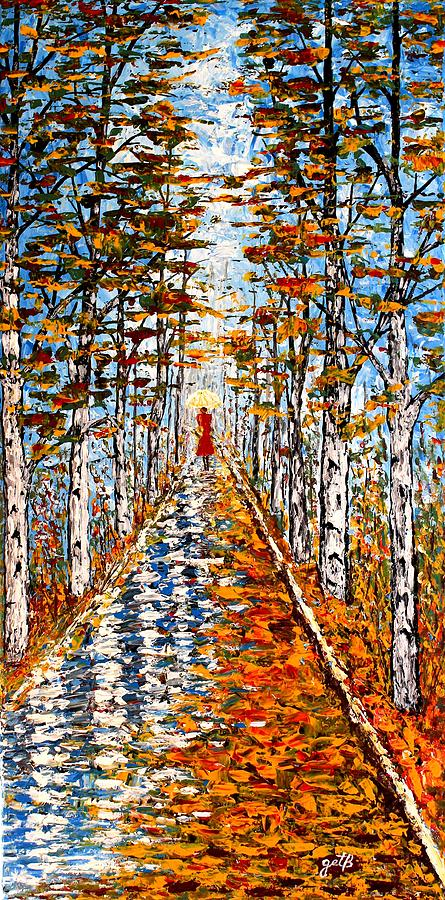 Fall Landscape Painting - Woman In Red In Fall Rainy Day by Georgeta  Blanaru
