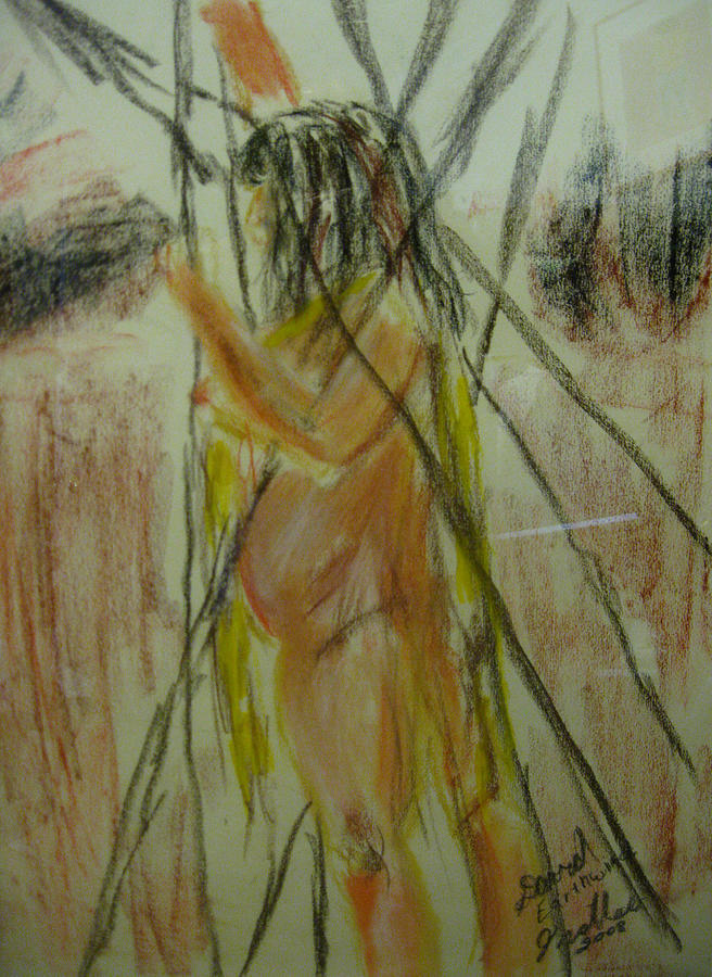 Nude Pastel - Woman in Sticks by David Trotter