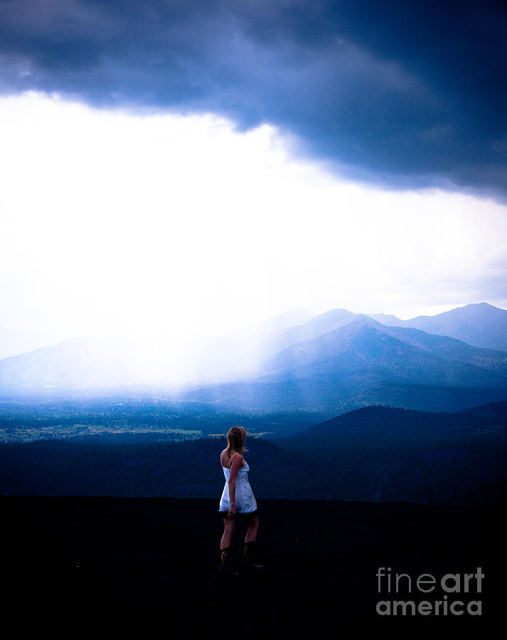 Stormy Weather Photograph - Woman In Storm by Scott Sawyer