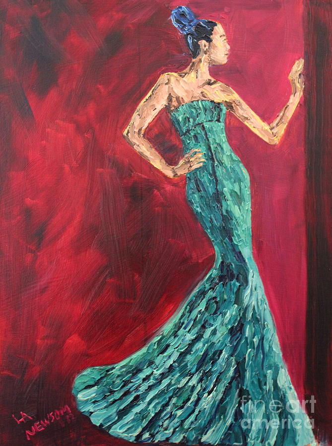 Green Painting - Woman In The Green Gown by Lee Ann Newsom