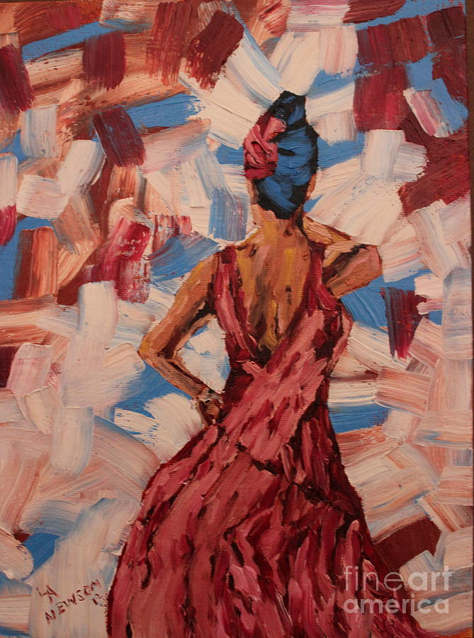 Red Painting - Woman In The Red Gown by Lee Ann Newsom