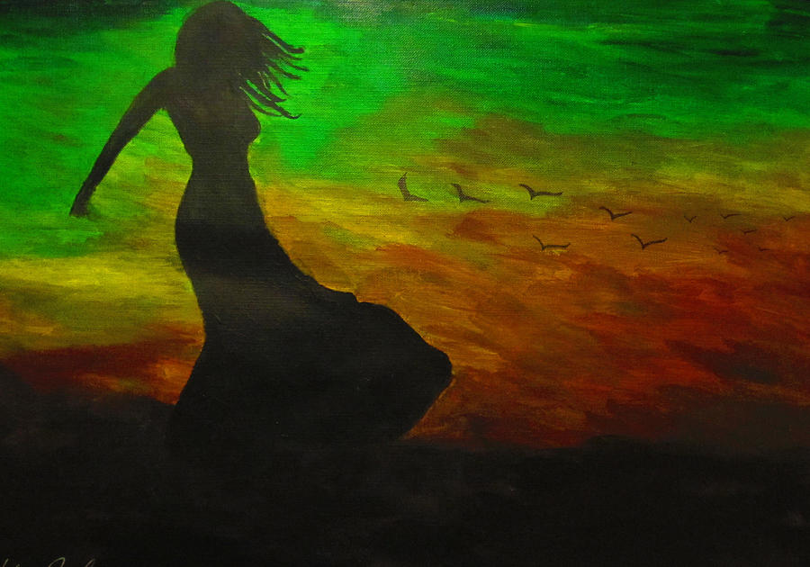 Woman In The Wind Painting by Haleema Nuredeen