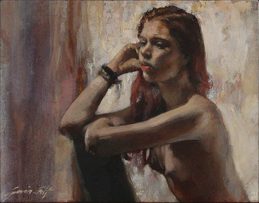 Seated Painting - Woman In Time by Gavin Calf