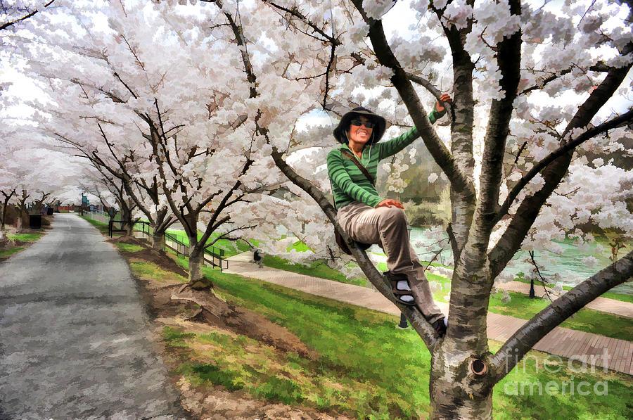 Woman Photograph - Woman In Tree by Dan Friend