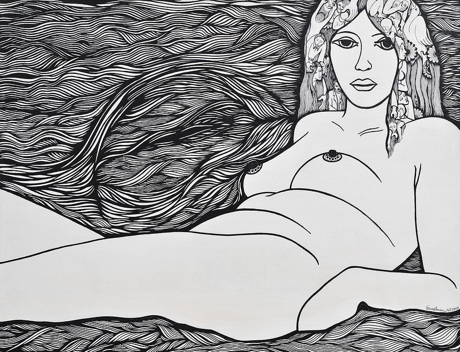 Drawing Painting - Woman Of Fifty by Jose Alberto Gomes Pereira