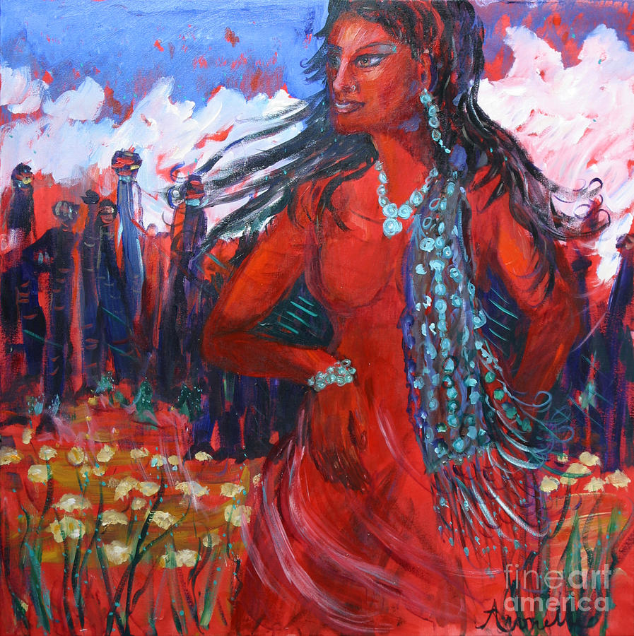 Red Woman Painting - Woman Of The Whispering Wind by Avonelle Kelsey