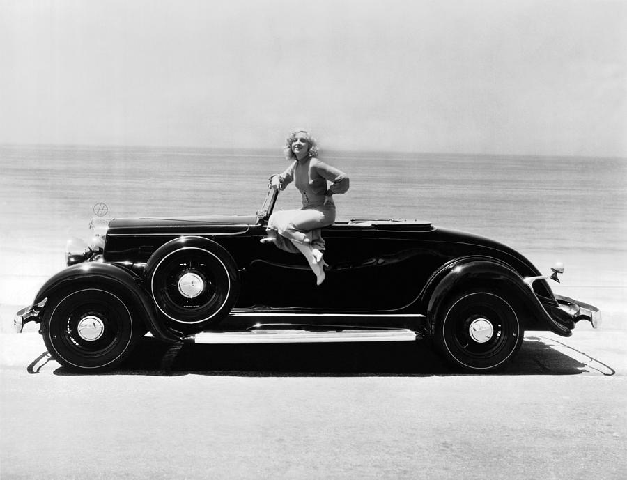 1930's Photograph - Woman On A Hupmobile by Underwood Archives