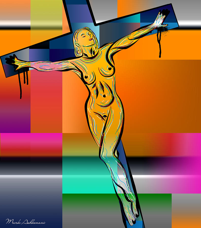 Woman Digital Art - Woman On The Cross by Mark Ashkenazi