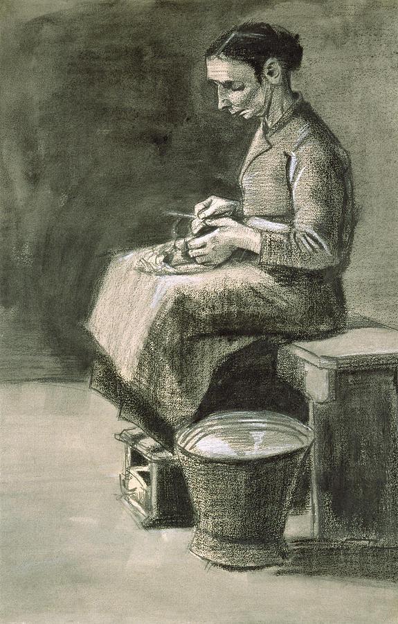 Van Gogh Drawing - Woman Peeling Potatoes, 1882 by Vincent van Gogh
